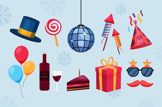 Objetos de fiesta de año nuevo y productos alimenticios.