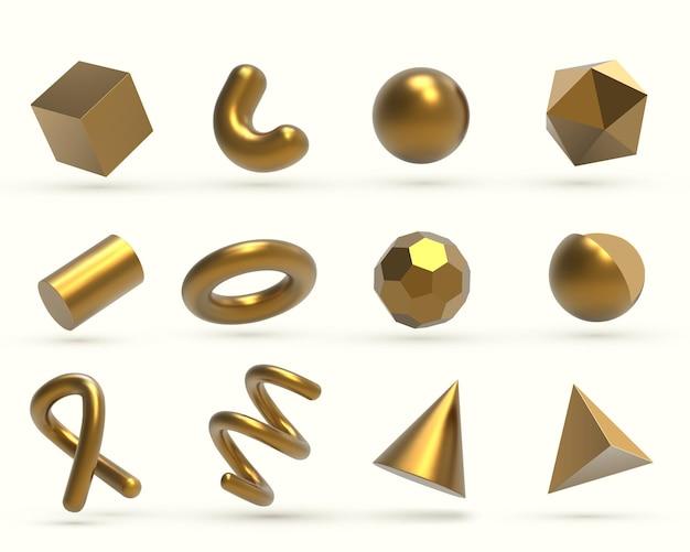 Objetos de formas geométricas doradas 3d realistas
