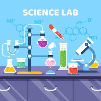 Objetos y fórmulas científicas de diseño plano