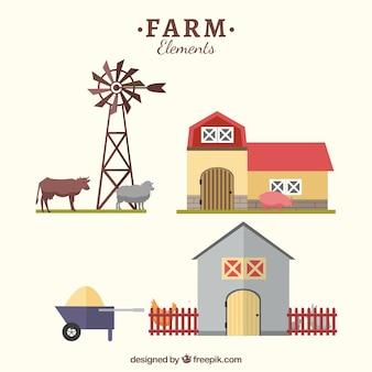 Objetos de granja en estilo plano