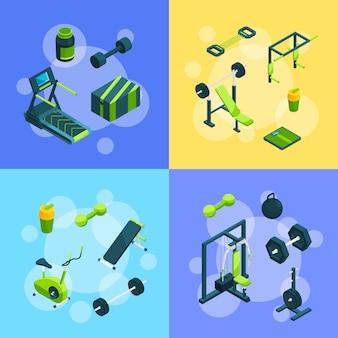 Objetos isométricos de gimnasio