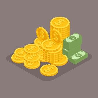 Objetos isométricos de moda. un gran montón de dinero en efectivo. cientos de dolares. oro, dinero, billetes. dólares, precioso manet, ganador aislado
