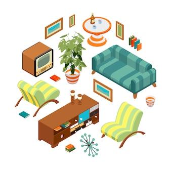 Objetos isométricos de una sala de estar retro.