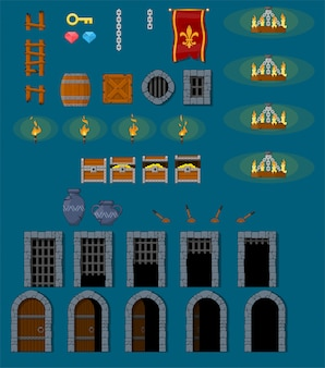 Objetos de juego de mazmorra medieval