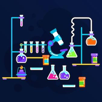 Objetos de laboratorio de ciencias de la acuarela