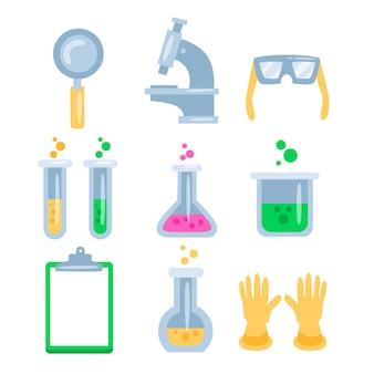 Objetos de laboratorio de ciencias aislados sobre fondo blanco.