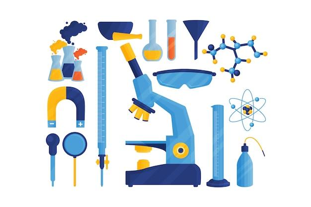 Objetos de laboratorio de ciencias aislados sobre fondo blanco