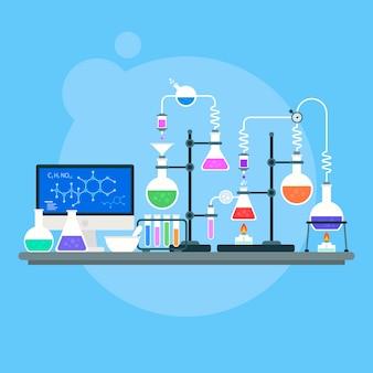 Objetos de laboratorio de ciencias de diseño plano
