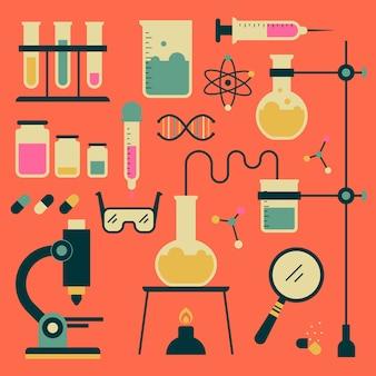 Objetos de laboratorio de ciencias ilustrados