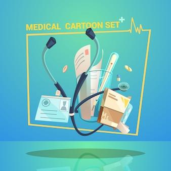 Objetos médicos con píldoras de termómetro y dibujos animados de estetoscopio