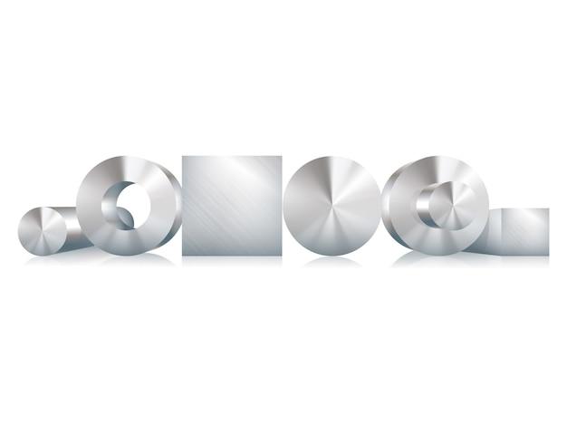 Objetos metálicos de acero círculo, cuadrado, manga, tubo