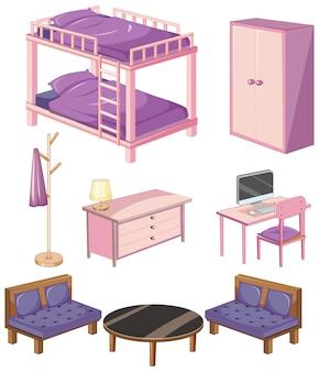 Objetos de muebles de dormitorio aislado sobre fondo blanco.