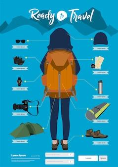 Objetos y objetos de viaje de vectores. viajar como mochila