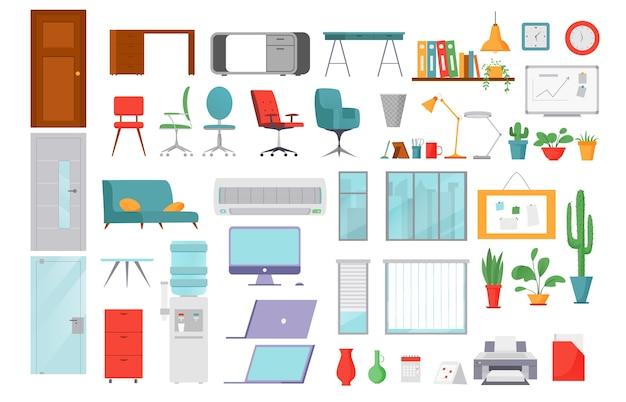 Objetos de oficina iconos planos colección de ilustraciones de computadoras aisladas