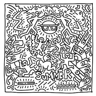 Objetos y personas divertidas de vector dibujado a mano de playa de verano