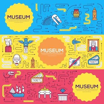 Objetos en la plantilla de volante del museo