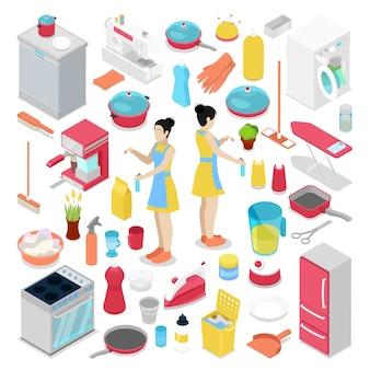 Objetos de quehaceres domésticos isométricos con ilustración de ama de casa