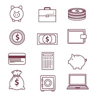 Objetos relacionados con el dinero sobre fondo blanco