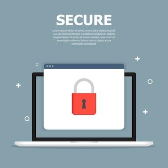 Objetos tecnológicos con signos de seguridad en el navegador de ventana en la plantilla de pantalla