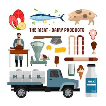 Objetos del vector de la carne y de los productos lácteos aislados. elementos de diseño de alimentos en estilo plano. pescado, carne, tanque de leche.