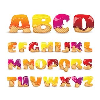 Obleas recubiertas conjunto de letras del alfabeto dulce