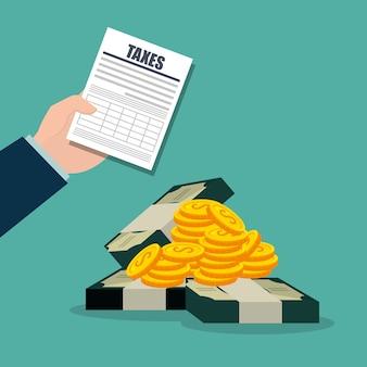 Obligaciones fiscales e iconos de la economía
