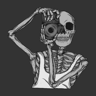 Obra de arte, ilustración, diseño, esqueleto, con, cámara