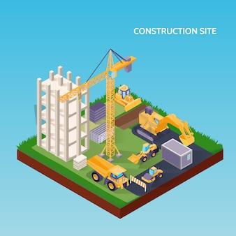 Obra de construcción isométrica con maquinaria