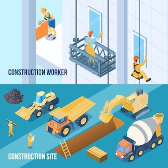 Obra de construcción y pancartas de trabajadores