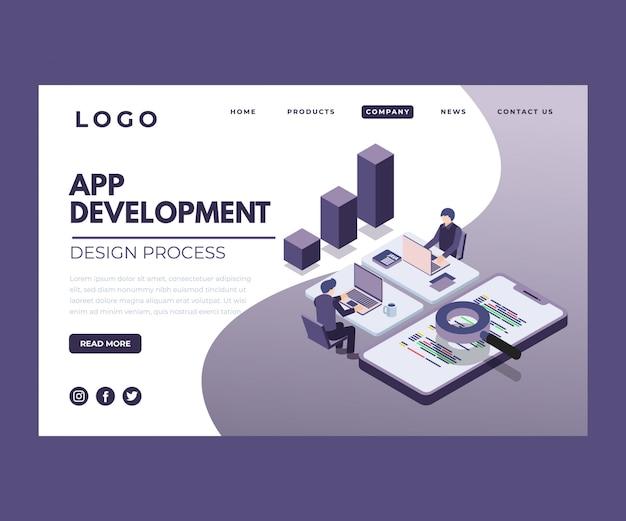Obra isométrica del proceso de desarrollo de aplicaciones.