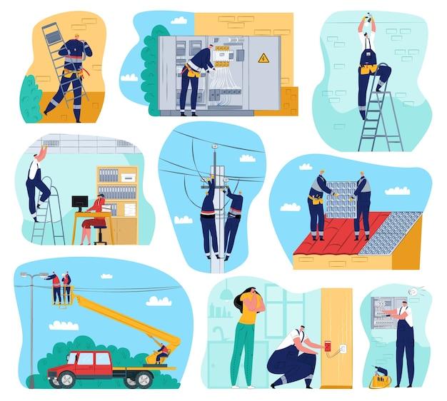 Obras de electricidad. obras y equipos eléctricos, electricistas realizando