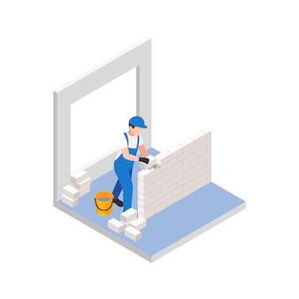 Obras de reparación de renovación composición isométrica con trabajador colocando ladrillos para una nueva pared