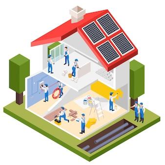 Obras de reparación de renovación composición isométrica con vista de perfil de casa privada en mantenimiento con ilustración de brigada de trabajadores