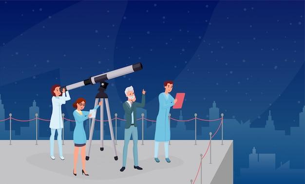 Observación astronómica, ilustración plana de observación de estrellas