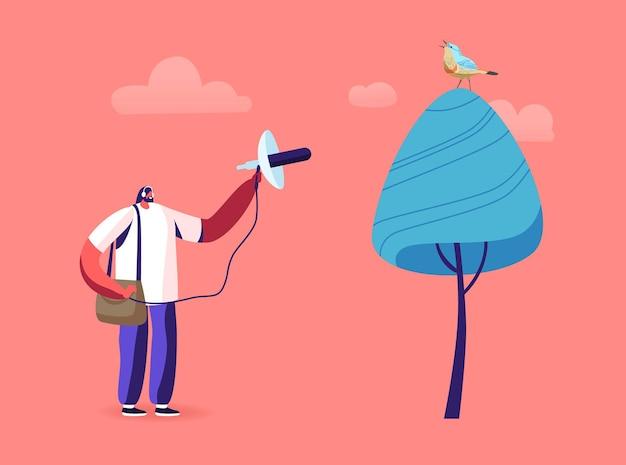 Observación de aves, ilustración profesional de ornitología.