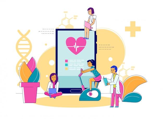 Observación médica deportista, ilustración. tratamiento de entrenamiento, médico ayudando al paciente. servicios médicos deportivos, cardiograma