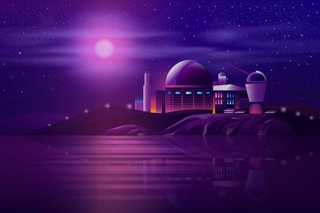 Observatorio astronómico telescopios de dibujos animados.