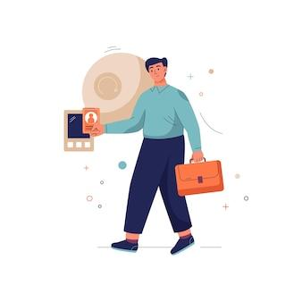 Obtener el concepto de acceso temprano hombre con maletín invierte dinero