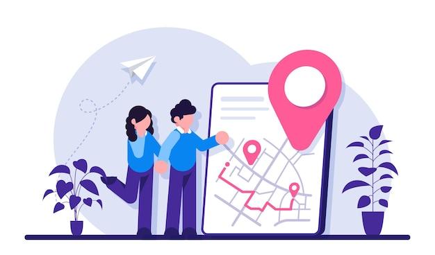Obtener direcciones concepto de obtener una ruta para llegar al destino.