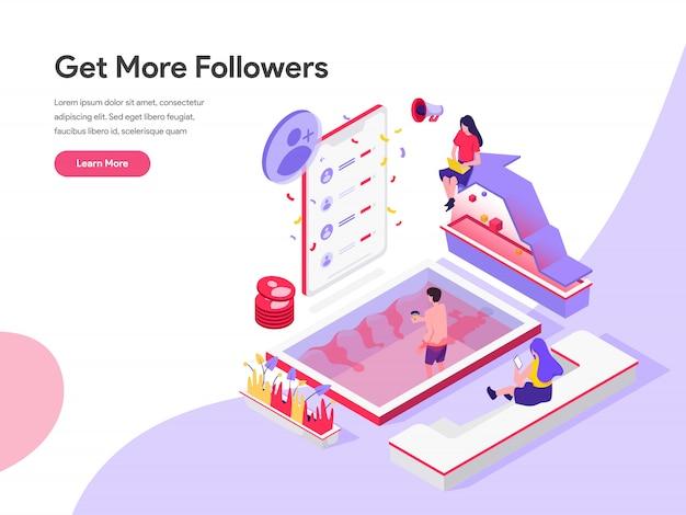 Obtener más seguidores isométrico concepto de ilustración