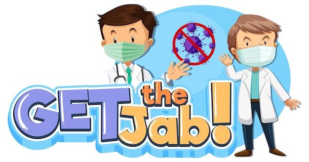 Obtenga el banner de fuente jab con personaje de dibujos animados médico masculino