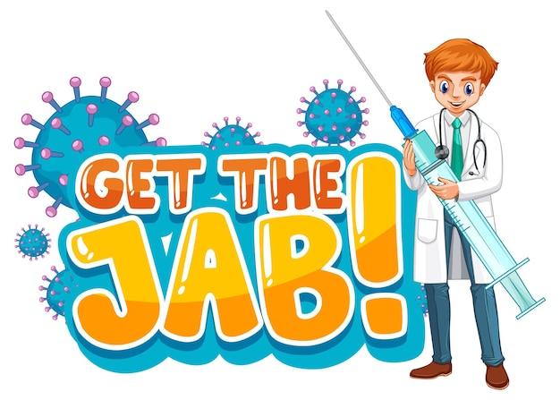 Obtenga la fuente jab en estilo de dibujos animados con un hombre médico aislado