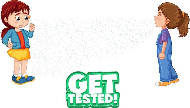Obtenga la fuente probada en estilo de dibujos animados con una mirada de niña a su amiga estornudando aislada sobre fondo blanco