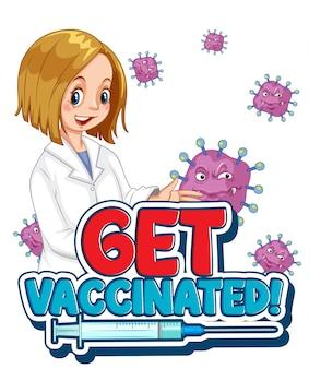 Obtenga la fuente vacunada en estilo de dibujos animados con una mujer doctora sobre fondo blanco