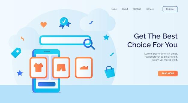 Obtenga la mejor opción para la imagen de su ropa en la campaña del icono de la pantalla del teléfono inteligente para el banner de la plantilla de aterrizaje de la página de inicio del sitio web con estilo plano de dibujos animados.