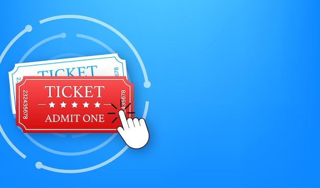Obtenga su boleto en línea. concepto de pedido en línea de entradas de cine de cine. ilustración vectorial.