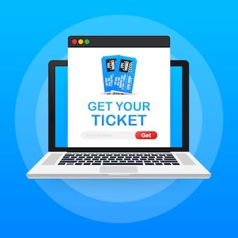 Obtenga su boleto en línea. concepto de pedido en línea de entradas de cine.