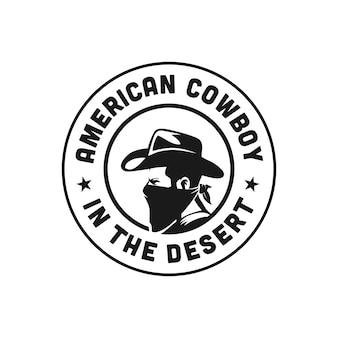 Occidental, vaquero, bandido, americano, logotipo, premium, vector