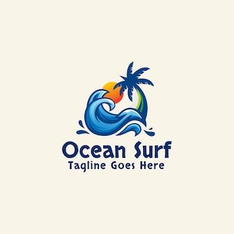 Ocean surf logo plantilla resumen verano