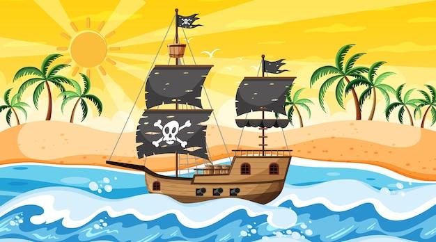 Océano con barco pirata en la escena del atardecer en estilo de dibujos animados